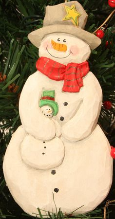 Handcarved Snowman With Baby,christmas Ornament,hand Carved,wood Carving,wood…