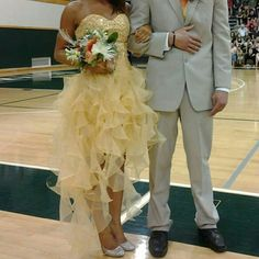 Beautiful Mustard Yellow/Gold Prom Dress Worn once; Great condition; Gold sequins Dresses Prom