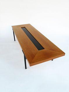 Dieter Waeckerlin Attributed; Teak, Laminate and Enameled Metal Coffee Table, 1960s.