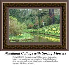 Woodland Cottage with Spring Flowers, alluring landscapes counted cross stitch patterns, designs, charts, kits