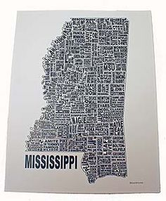 Your City Prints- where places you know and love are transformed into art. This collection represents the state of Mississippi, its counties, and what the county is best known for. 11x14.