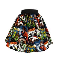 """Perfectly Pleated "" Monsters Skirt This is an adorable pleated full skirt. The skirt composed of a irresistible Monsters Movie fabric that has a black background with various movie monster prints floating all over it. 