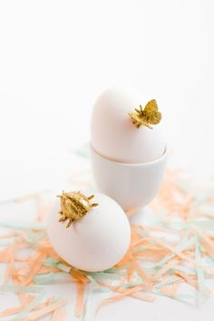 DIY gold animal Easter eggs