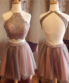 Backless prom dress, homecoming 2016, Cute  champagne lace organza two pieces dress for teens
