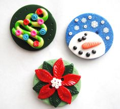 Biggy Buttons Christmas handmade polymer clay buttons ( 1 ). $3.50, via Etsy.