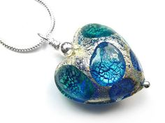 Murano Glass Heart Pendant Necklace - Turquoise Spot