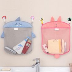 Honana BX-144  Cartoon Bathroom Folding Mesh Hanging Storage Bag  Bathing Toy Storage Organizer