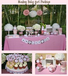 girl  baby shower ideas | ... Party Package Cupcake toppers pink brown white baby shower its a girl