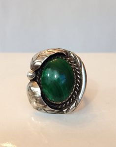 Vintage Navajo Malachite Ring Sterling by AntiqueJewelryForFun