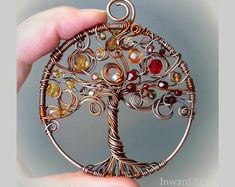 Autumn Tree of Life pendant- wire wrapped copper Tree of Life with yellow/bronze/red leaves, unique artistic jewelry, finesse, gift idea Herbst Baum des Lebens Anhänger Draht gewickelt Kupfer Baum des Lebens Wire Pendant, Wire Wrapped Pendant, Wire Wrapped Jewelry, Beaded Jewelry, Handmade Jewelry, Boho Jewelry, Pendant Necklace, Wire Tree Necklace, Pendant Jewelry