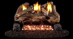 Enjoy exclusive for Peterson Real Fyre Evening Fyre Split Log Set With Vent-free Propane Ansi Certified Burner - Variable Flame Remote online - Chicprettygoods Ventless Natural Gas Fireplace, Ventless Gas Logs, Gas Fireplace Logs, Fireplaces, Free Logs, Oak Logs, Charred Wood, Wood Sample, Fireplace Accessories