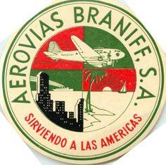Aerovias BRANIFF AIRWAYS - Great Old multi-image Airline Luggage Label    eBay