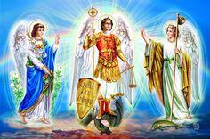Saints Michel , Gabriel et Raphael Archanges Celestial, San Gabriel, San Rafael, Christian Art, Apocalypse, Mythology, Catholic, Images, Creatures