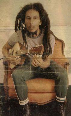 Bob Marley playing his guitar at Copacabana Palace Hotel, Rio de Janeiro, Brasil, March 1980.