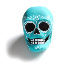 Day of the Dead Paper Mache Sugar Skull - Turquoise. $38.00, via Etsy.