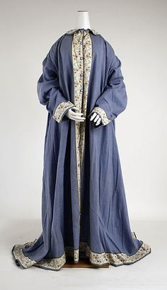 Wrapper ca. 1880, medium: cotton  Wrapper's were a form of house robes. They were worn while getting ready for the day, or while being leisurely around the house. They are equivalent to men's banyans.
