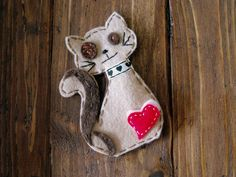 Cat felt hair clip. OOAK Custom order, pick your color. by craftoholicsoul on Etsy