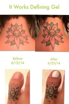 Restore that vibrant color to your tattoos with It Works Defining Gel! Can your daily moisturizer do this for your ink? www.sanjoseskinnywraps.com #Restore #Color #Tattoos #Tats #LoveYourTattoo #LoveIt #Vibrant #ItWorks #DefiningGel #LiquidGold #Ink #TakeCare #SanJose #LooksNew #Fresh #Updated
