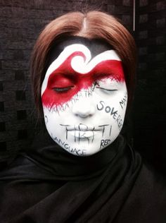 Facial Art inspired by 1940's New Zealand's Treaty of Waitangi.  Created by Sian Strickland.