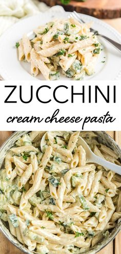 Zucchini Cream Cheese Pasta, so creamy you won't believe how quick it is to make. And how delicious too. The Perfect Weeknight quick Pasta Dish. A light vegetarian dinner idea, loaded with healthy summer veggies like zucchini! #pasta #creamcheese #zucchini #easydinner Wheat Pasta Recipes, Vegetarian Pasta Recipes, Healthy Pasta Recipes, Easy Healthy Recipes, Easy Dinner Recipes, Gnocchi Recipes, Easy Dinners, Vegan Recipes Healthy Clean Eating, Cream Cheese Pasta