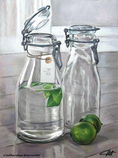 CITRONS VERTS Pastel sec sur pastelmat www.artmajeur.com/catherinewernette