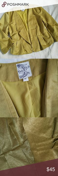 ba13f488da10 Tulle pleated mustard blazer Size large. Muted mustard blazer worth a sheen  to it.