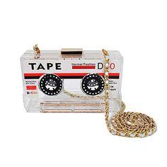 QZUnique Womens Elegant Tape Shaped Shoulder Bag Vintage Style Clutch Handbag Transparent -- You can find out more details at the link of the image. (This is an affiliate link) Black Handbags, Purses And Handbags, Unique Handbags, Clutch Bag, Crossbody Bag, Shoulder Handbags, Shoulder Bag, Tape Recorder, Unique Bags