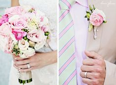 Such a sweet matching pink and white wedding bouquet, tie, and boutonniere   Charis Johnson Photography