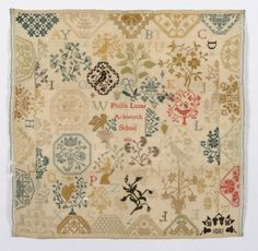 Unframed Ackworth Medallion Sampler Worked By Phillis Lucas Dated 1801,  worked in cross stitch and displaying many of the decorative motifs of  Ackworth samplers of half medallions, squirrels, cornucopia of flowers,  32cms by 31cms.Similar designs and an Esther Lucas are mentioned in  the Quaker School Girl Samplers of Ackworth by Carol Humphrey.