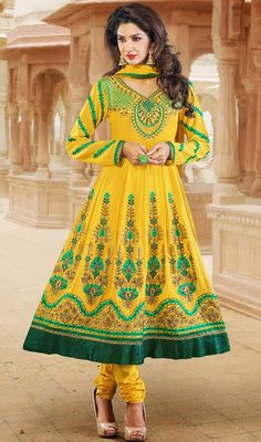 Yellow and Green Embroidered Anarkali Suit Price: Usa Dollar $89, British UK Pound £53, Euro66, Canada CA$97 , Indian Rs4806.