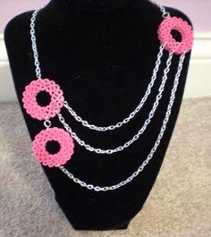 Pink necklace perler beads by missktty89