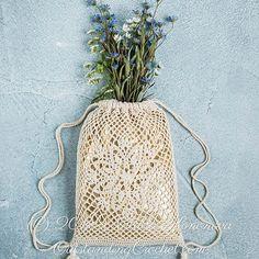 Lotus Drawstring Bag crochet pattern
