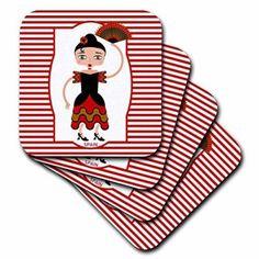3dRose Spain is represented by a flamenco dancer,flamenco is spanish popular folk music, Soft Coasters, set of 4