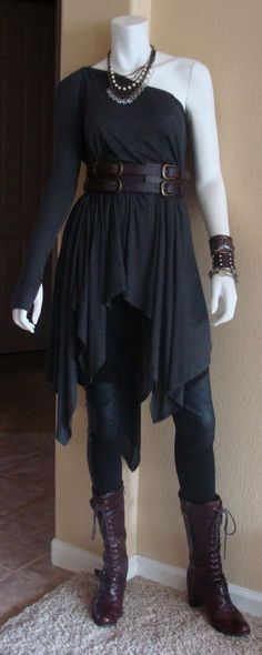 Daily Look: CAbi Fall '13 Ricky Legging and Multi Topper with vintage Corset Belt and my favorite laced boots.: