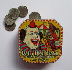 Daily Dime Bank Circus Tin Lithograph Vintage Mid-Century Saving Money Daily Banking 50's Clown Bank Red Yellow Navy White (45.00 USD) by HobbitHouse