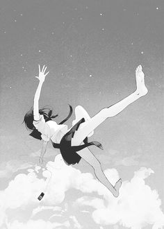 Find images and videos about girl, cute and art on We Heart It - the app to get lost in what you love. Manga Anime, Sky Anime, Manga Girl, Falling From The Sky, Girl Falling, Drawing Reference Poses, Drawing Poses, Poses Anime, Fall Anime