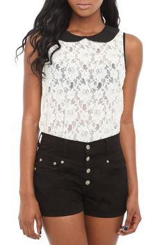 The lace top and high waisted shorts=adorable