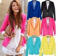 v-neck, candy color blazer,single breasted jacket with folded up stripe sleeves.