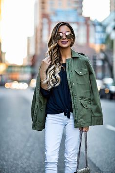 fashion blogger mia mia mine wearing a cargo jacket from stitch fix and white paige jeans