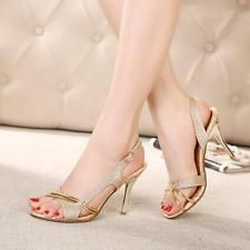 Women Gold Glitter Open Toe Slingbacks Fashion DatE Party Sandals Shoes Gold US8