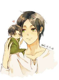 Eren and tiny chibi Levi | Shingeki no Kyojin || 巨人同人涂鸦 | 锐思ruis [pixiv] http://www.pixiv.net/member_illust.php?mode=medium&illust_id=37050624 [please do not remove this caption with the source]
