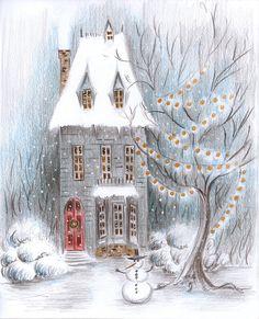 Цветные Карандаши, Снег, Зима, Illustration, Painting, На Открытом Воздухе, Искусство