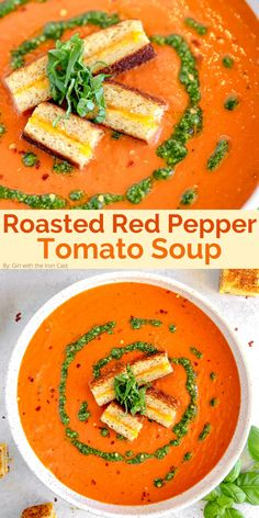 Tomato Soup Recipes, Healthy Soup Recipes, Clean Recipes, Cooking Recipes, Roasted Red Pepper Soup, Roasted Red Peppers, Breakfast Recipes, Dinner Recipes, Food Crush