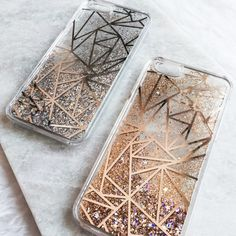 Geometric Triangle Silver Gold Stars Liquid by MODRNglamour