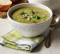 Broccoli and Stilton Soup - A smooth blended vegetable soup with blue cheese that's as good for a comforting meal as it is for a dinner party starter Bbc Good Food Recipes, Vegetarian Recipes, Cooking Recipes, Healthy Recipes, Healthy Food, Vegan Vegetarian, Dinner Recipes, Broccoli And Stilton Soup, Mushroom Broccoli