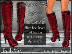 BodyMix Sandra Red and Black leather boots L$1 or • Group Gift •