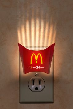 McDonalds actually does a brilliant job of being creative with its advertisements. My personal favorite is the McDonalds french fry container night light because it is trying to convey that some McDonald's locations are open Creative Advertising, Fast Food Advertising, Advertising Design, Advertising Campaign, Advertising Poster, Ads Creative, Creative Design, Advertising Ideas, Advertisement Examples