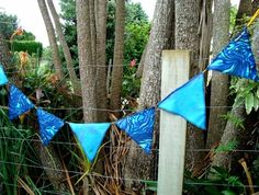 unique NZ wedding bunting  paua colours, printed and handdyed