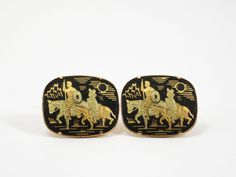 Vintage Damascene Cuff Links with Don Quixote and Sancho Panza at Eight Mile Vintage on Etsy