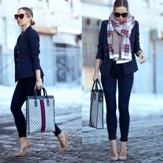 Oversize scarf, denim jeans and nude heels.